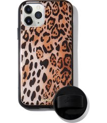 sonix watercolor leopard iphone 11 pro case & slide silicone phone ring - brown