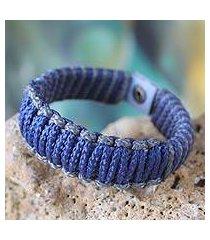 men's wristband bracelet, 'amina in blue and gray' (ghana)