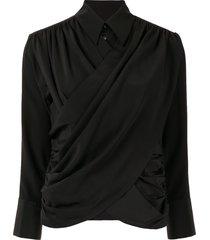 akira naka long sleeve draped front blouse - black