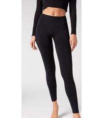 calzedonia super opaque microfiber leggings woman black size 1/2