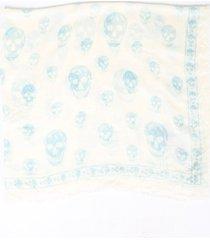 alexander mcqueen white blue skull silk blend scarf blue/white sz: