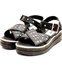 sandalia de cuero negra valentia calzados tici
