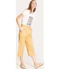 pantalón capri unicolor amarillo 12