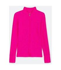 jaqueta esportiva texturizada com zíper e punho com dedinhos | get over | rosa | m