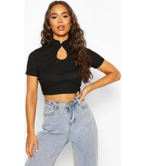 ribbed high neck cut out top, black