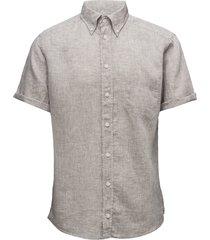 hoxton-green-slim fit overhemd met korte mouwen beige eton