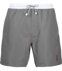 brunello cucinelli logo-embroidered swim shorts - grey