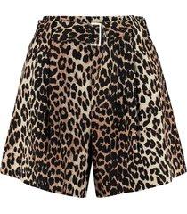 ganni linen blend shorts