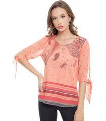 blusa tentation mc coral - calce holgado