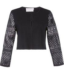 carolina herrera cropped crocheted cardigan - black