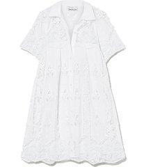 alanna crocheted cotton mini shirt dress