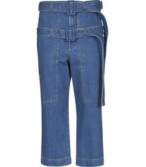 lanvin cropped belted jeans