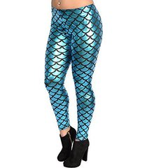 badassleggings women's teal shiny mermaid leggings 4xl