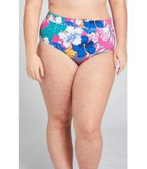 lane bryant women's high-waist swim brief 26 hibiscus tropics