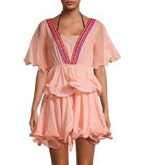pitusa women's ruffled cotton mini dress - peach - size standard (m-l-xl)