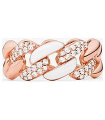 mk anello in argento sterling placcato oro rosa 14k con maglie a catena e pavé - oro rosa (oro rosa) - michael kors