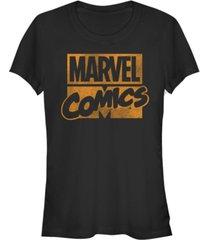 fifth sun marvel women's classic comics stack logo tonal orange short sleeve tee shirt