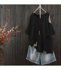 zanzea las mujeres de manga corta con cuello redondo de tapas de la camisa floja de la blusa ocasional dobladillo irregular de la blusa -negro
