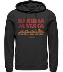 disney men's lion king hakuna matata means no worries, pullover hoodie