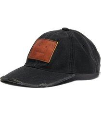 leather face patch distress detail cotton cap