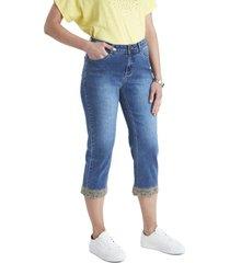 jeans capri bordado azul curvi