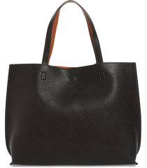street level reversible faux leather tote & wristlet in black/cognac at nordstrom