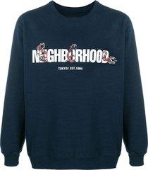 neighborhood slub c-crew sweater - blue