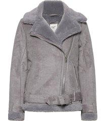 anf womens outerwear outerwear faux fur grijs abercrombie & fitch