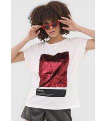 camiseta sommer paetãªs off-white - off white - feminino - algodã£o - dafiti