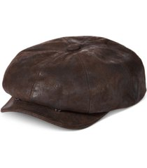 stetson men's weathered leather newsboy cap