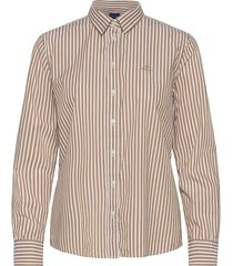 the broadcloth striped shirt overhemd met lange mouwen beige gant
