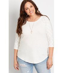 maurices plus size womens 24/7 solid eyelet baseball tee white