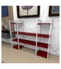 aparador industrial aço cor branco 120x30x98cm (c)x(l)x(a) cor mdf vermelho modelo ind50vrapr