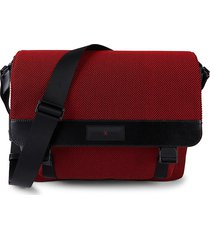 michael kors men's canvas & leather messenger bag - red black