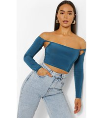strakke off shoulder crop top, blue