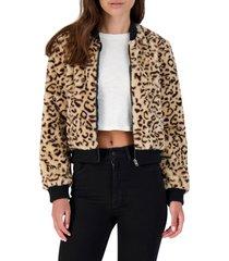 women's bb dakota meow factor leopard print faux fur bomber jacket, size x-small - brown