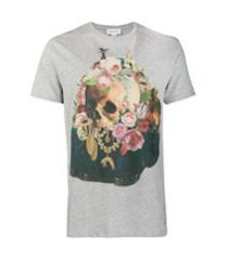 alexander mcqueen camiseta floral com estampa de caveira - cinza