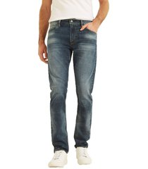 jeans slim tapered basic azul guess