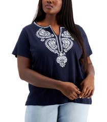 tommy hilfiger plus size paisley embroidered top