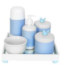 kit higiene espelho completo porcelanas, garrafa pequena e capa passarinho azul quarto bebê menino