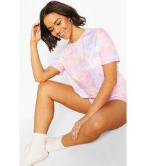 pastel tie dye pyjama set met shorts en franjes, multi