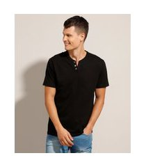 camiseta básica manga curta gola portuguesa preta