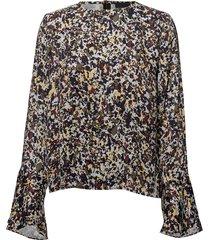 2nd dott printed blouse lange mouwen blauw 2ndday