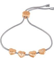 tommy hilfiger women's silver-tone heart bracelet