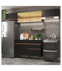cozinha compacta madesa reims 260003 com armário e balcão preto preto