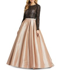 mac duggal women's beaded lace & satin ball gown - nude - size 12