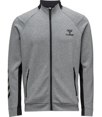 hmlguy zip jacket sweat-shirt tröja grå hummel