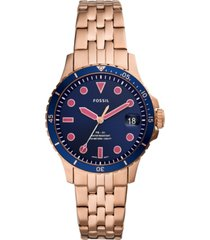 fossil women's fb-01 rose gold-tone stainless steel bracelet watch 36mm
