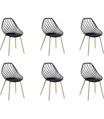 conjunto 06 cadeiras cloe base aço preto