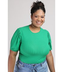 blusa feminina plus size canelada manga curta bufante decote redondo verde